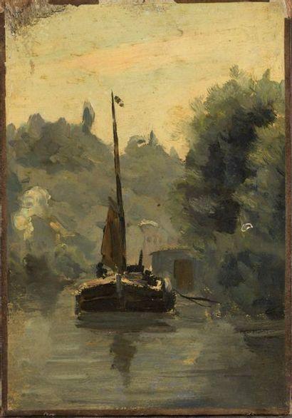 Attribué à H. GUILLON (XIXe siècle)  Voilier...