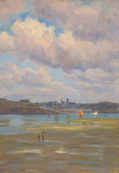 Charles WISLIN (1852-1932)  Pêcheurs à marée...