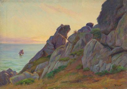 Charles WISLIN (1852-1932)  Voilier à Port-Manec'h...