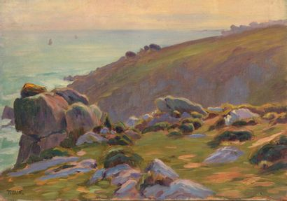 Charles WISLIN (1852-1932)  La côte de Kerouglas,...