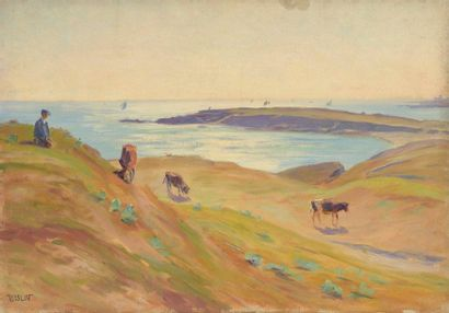 Charles WISLIN (1852-1932)  Vaches et voiliers...