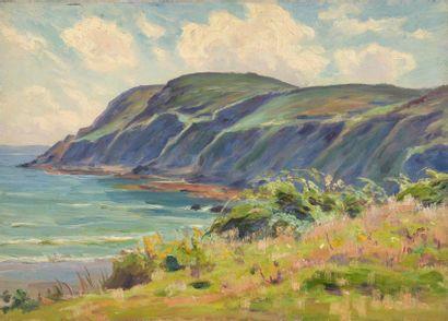 Charles WISLIN (1852-1932)  Falaises à Binic,...