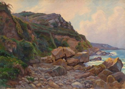 Charles WISLIN (1852-1932)  Falaise à Perros-Guirec...