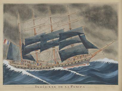 Paul Emile PAJOT (1870-1930)  Le Quatre-mâts...
