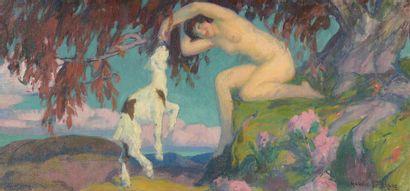 Gabriel DELUC (1883 -1916)  Femme nue auprès...
