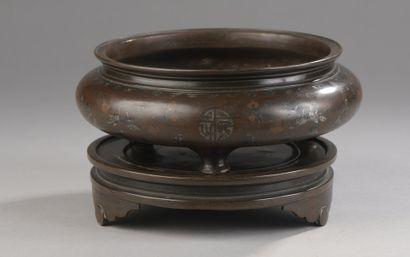 BRÛLE-PARFUM tripode en bronze incrusté de...