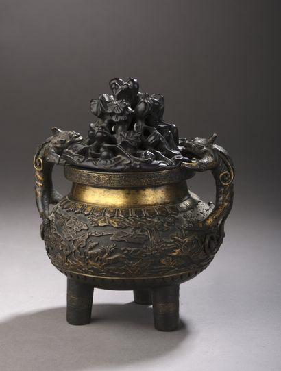 BRÛLE-PARFUM (xi?ng lú ? ?) tripode en bronze...