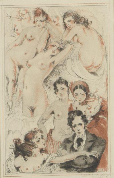 Luc LAFNET (1899-1939)  Le Dandy, deux scène...