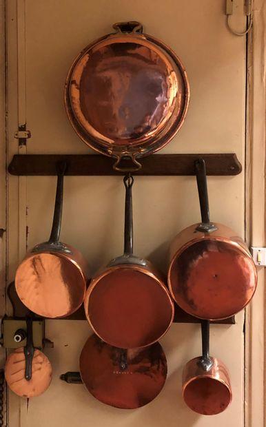 Mannette de cuivres dont casseroles, bassine...