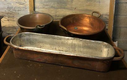 Lot de cuivres dont plat à poisson