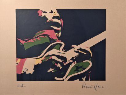 Bernard RANCILLAC (1931)  B.B King  Sérigraphie...