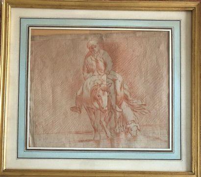 Ecole du XVIIIe siècle  Fermier à cheval...