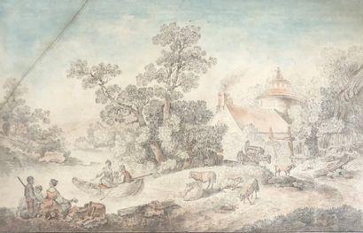 Ecole française du XVIIIe siècle  Promeneurs...