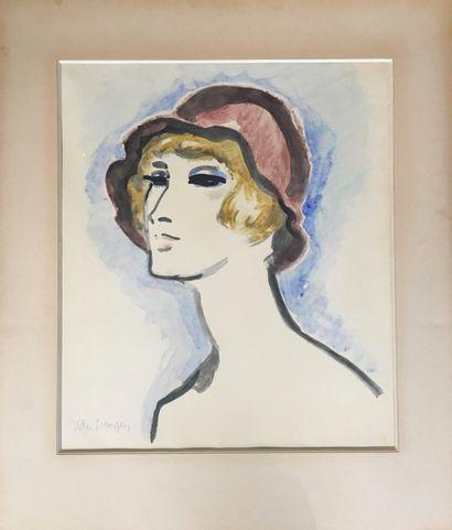 Kees VAN DONGEN (1877 – 1968)  Femme au chapeau,...