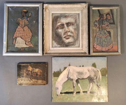 Lot comprenant :  - Ecole du XXe siècle  Cheval...