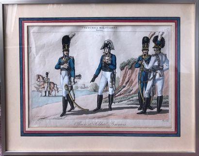 Deux gravures militaires en couleurs  Uniformes...
