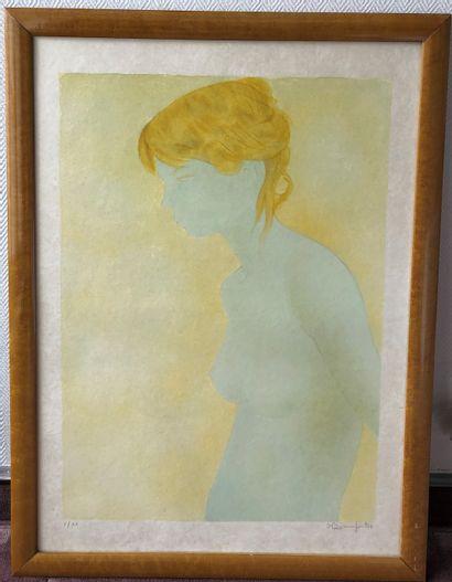 Alain BONNEFOIT (1937)  Nu de profil  Lithographie...