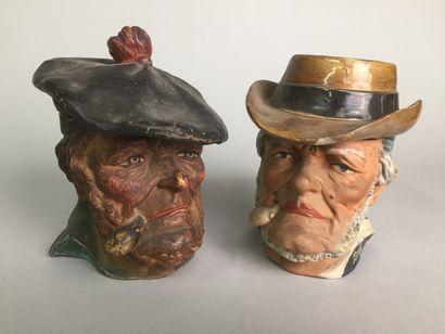 Tête de marin pêcheur breton barbu avec chapeau...