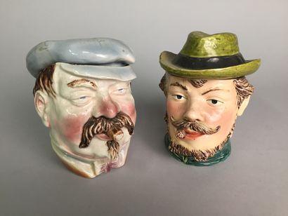 Tête de bourgeois barbu avec chapeau et cigare....