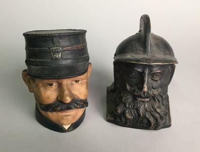 Tête d'homme barbu et moustachu, avec casque...