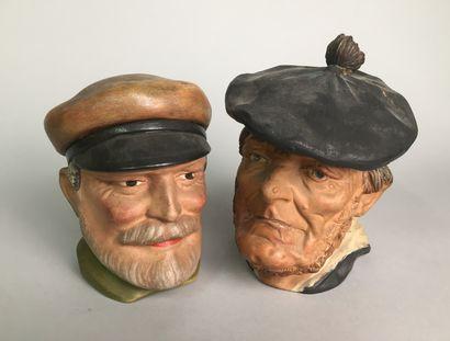 Tête de marin pêcheur breton barbu avec casquette...