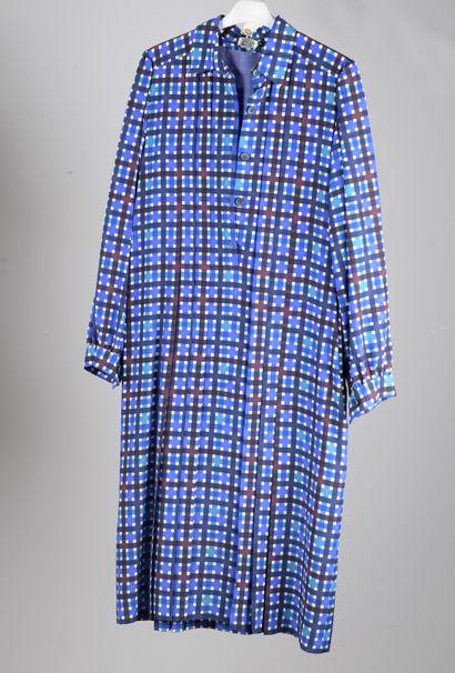 TED LAPIDUS  Robe chemise façonnée bleue,...