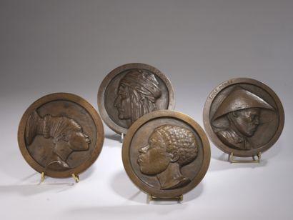 Emile MONIER (1883-1970)  Quatre médaillons...