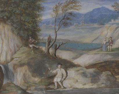 École FLAMANDE du XVIIIe siècle  Pêcheurs...