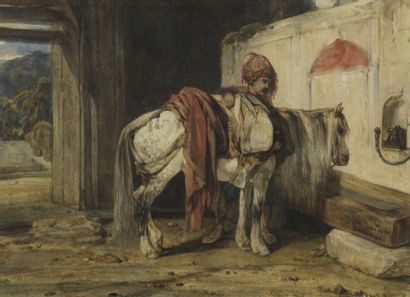 Alexandre Gabriel DECAMPS (1803-1860)  Cavalier...