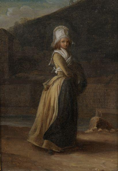 Henri Pierre DANLOUX (1753-1809) La Coquette Huile...