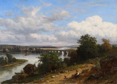 Léon FLEURY (1804-1858)  L'ancien pont de...