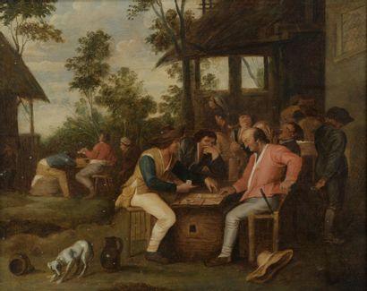 École HOLLANDAISE du XVIIe siècle  Les joueurs...