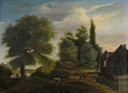 École FLAMANDE vers 1840  Troupeau au bord...