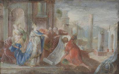 École FRANCAISE vers 1750  Sémiramis et les...