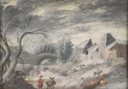 École FLAMANDE du XVIIIe siècle  L'Hiver...