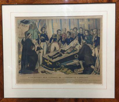 Suite de 4 gravures :  Exhumation des cendres...