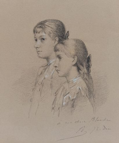 Alexandre BIDA (1813-1895)  Portrait de jeunes...