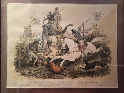 Victor ADAM (1801-1866)  La chasse au tigre,...