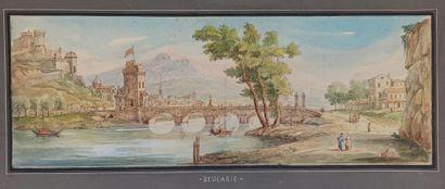 Ecole du XIXème siècle  Vue de Beaucaire...