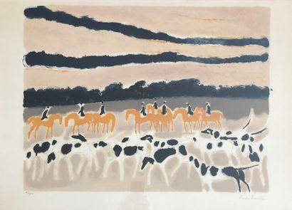 André BRASILIER (1929)  Scène de chasse à...