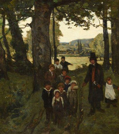 Henri Joseph HARPIGNIES (1819-1916) Le maître et ses élèves en forêt Huile sur panneau,...