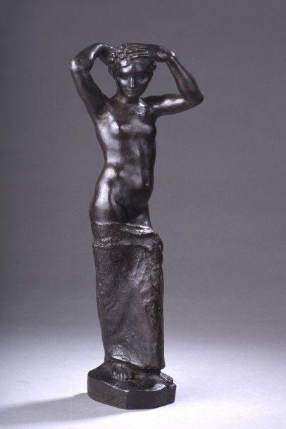 Louis DEJEAN ( 1872-1953) Femme nue au drapé...