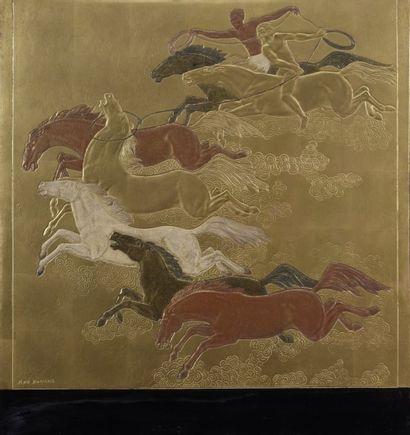 Jean DUNAND (1877-1942) La conquête du cheval Panneau laqué, vers 1935 Réduction...