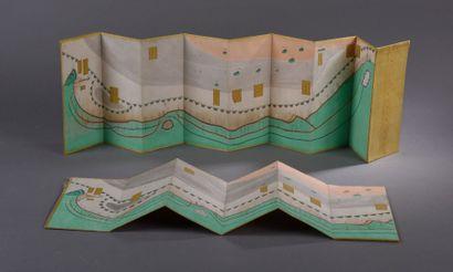 Lot de deux rares cartes géographiques pliantes représentant un cours d'eau avec...