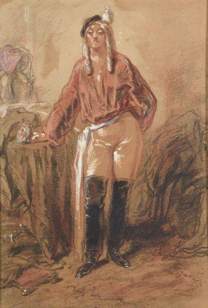 Paul GAVARNI (1804-1866) L'amazone à la rose...
