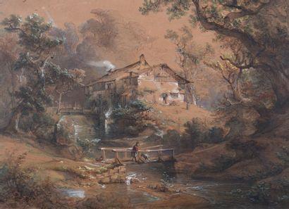 Ecole ALLEMANDE du XIXème siècle Le moulin...