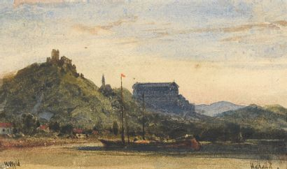 William WYLD (1806-1889) La Walhalla Aquarelle,...
