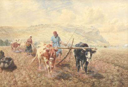Richard BEAVIS (1824-1896) Scène de labour...