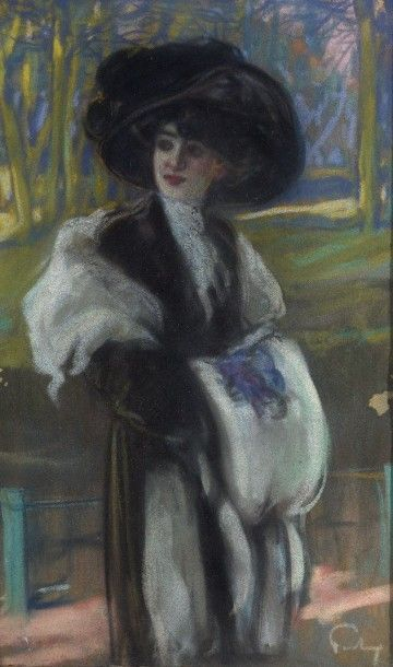 Louis FORTUNEY (1875-1951) Elegante Pastel,...