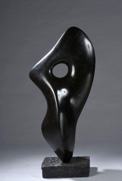 Antoine PONCET (né en 1928) Composition Marbre noir, signée. Socle en pierre...